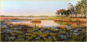 Black Water Sunset Painting by Brenda Will Kidera