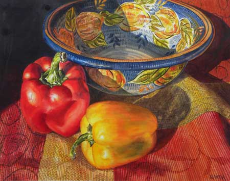 Peppers and Patterns Painting